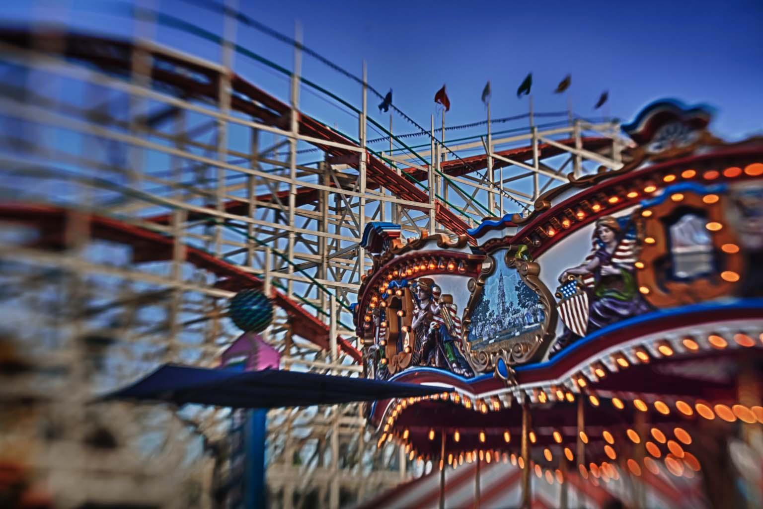 Fine-Art-Pacific-Beach-Belmont-Park-Merry-Go-Round-Roller-Coaster-HDR